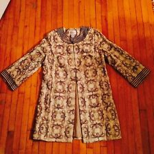 VICTOR COSTA OCCASION MED QVC LONG LENGTH EMBROIDERED LINEN BEADWORK COAT JACKET