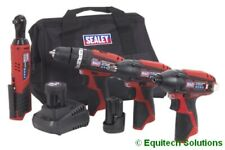 Sealey CP1200COMBO 4 Tool Combo Kit CP1201 CP1202 CP1203 CP1204, 2 Batteries