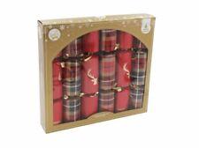 6 Pack Luxury Christmas Crackers - Red and Gold Tartan / Deer Design