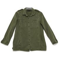 Forever 21 Military Style Shirt Jacket Womens Sz L Large Olive Green Print Back