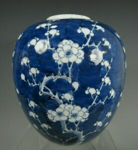 China Chinese Porcelain Blue & White Prunus Decor Jar Qing Dynasty ca 1900