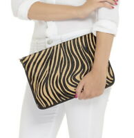 Real leather animal print clutch bag, crossbody in 9 options 30x20cm