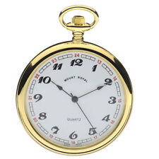 Open Face Gold Plated Quartz (Battery) Pocket Watches
