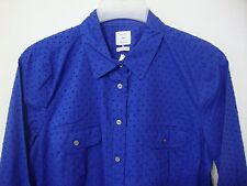 GAP Women's Medium Fitted Boyfriend Long Sleeve Shirt Blue Polka Dots NWT