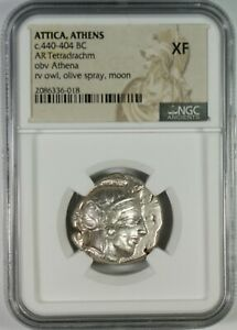 Ancient Attica, Athens 440 B.C. Athena/Owl Tetradrachm NGC XF