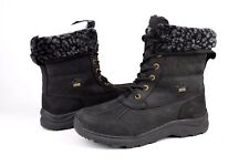 Ugg Adirondack III Leopard Leather Wool Black Winter Snow Boots Size 9 US