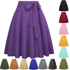 Ladies Skater Flared High Waist Bowknot Bottoms Evening Cocktail A-line Skirts