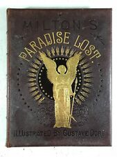 Paradise Lost by Gustave Dore Antique Gilt Decorated Leather Bound Book