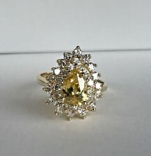 14k Yellow Gold & Pear 🍐 Citrine Cluster Cocktail Ring  Any size