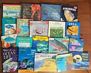 Lot 29 Kids Non-Fiction Books OCEAN Rivers Seals Whales Fish