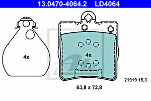 Disc Ceramic Brake Pad Set Front Rear Axle ATE Fits MERCEDES A208 5126300AA