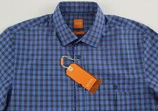Men's HUGO BOSS Blue Plaid Short Sleeve S/S Shirt Medium M NWT NEW