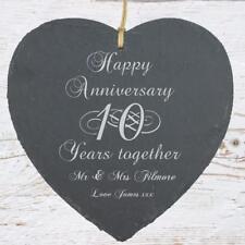 Personalised 10th Anniversary Gift Large Heart Slate SLA210-11