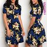 New Elegant Floral Flower Print Dress Party Evening Wear Size 6 8 10 12 XS S M L