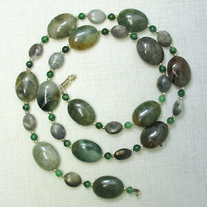 AGATE & JADE Artisan Handmade Sterling Silver 925 Necklace 22 Inches Genuine