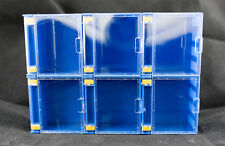 6 X Stackable Mini Display Case Blue Colour for Lego Minifigures Showcase