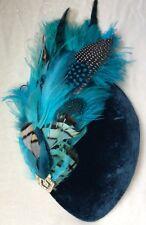 Chapeau Jules Vintage HAT Teal & Turquoise Velvet Feather Percher Hat Wedding
