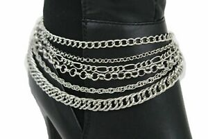 Women Silver Boot Bracelet Anklet Metal Chain Western Shoe Multi Strands Jewelry