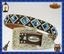 XS S M L XL Blue Diamond Rhinestone Brown Western Buckle Cowboy Girl Rodeo Belt