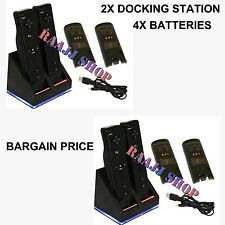 2x CHARGER DOCKING STATION + 4x RECHARGEABLE BATTERY PACK FOR WII U REMOTE BLACK