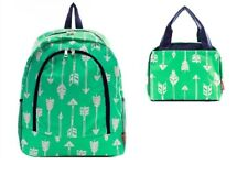 Ngil Aztec Feather Arrow Book Bag Backpack Lunch Box Case Mint Green Navy Blue