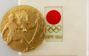 1964 Olympic Games Tokyo ORIGINAL Torch Relay Gold Plated MEDAL with case RARE!!