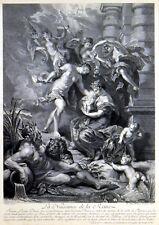 La naissance de la reine 1708 Gaspard Duchange-Rubens antique Gravure