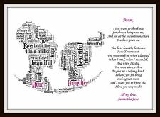 Personalised Daughter Mum Poem Mothers Day Birthday Christmas Gift Word Art