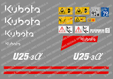 KUBOTA U25-3 Mini Digger Complet Autocollant Ensemble Avec SAFETY Signes