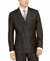 Tallia Mens Suit Jacket Black Size 38 Short Double-Breasted Slim Fit $425 #271