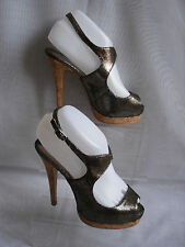 WOMENS ATMOSPHERE BRONZE  SYNTHETIC HIGH HEEL SLINGBACK SHOES SIZE:4/37(WHS210)
