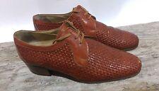 Napleon Brown Italian Leather Basket WeaveWomens Oxford US SHOES SIZE 7 Vintage