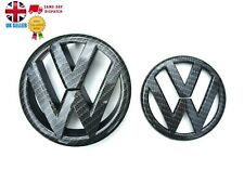 VW Golf MK6 2009-12 Carbon Effect Front Grille & Rear Boot Badge Emblems OEM-Fit