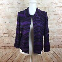 Ming Wang Acrylic Knit Cardigan Black Purple Blazer Jacket Size Petite Medium