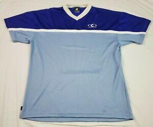 Cannondale Mens Cycling Shirt XL USA Vintage Blue White Short Sleeve Rear Pocket