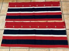 NAUTICA RED NAVY CREAM STRIPE VALANCE PAIR SET 2 BUTTON AMERICANA 41.5 * 17.5 LN