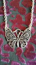 """Handmade large butterfly pendant necklace (""""antique silver"""")"""