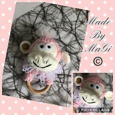 "Monkey Baby Teething Ring Handmade Crochet Toy 5""-7"""