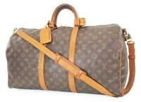 Authentic LOUIS VUITTON Keepall Bandouliere 50 Monogram Canvas Duffel Bag #37145