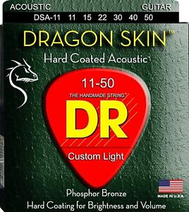 DR Strings NRA-10 NEON Red Coated Acoustic Strings Extra Lite 10-48