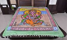 Lord Ganesh Queen Size Blanket Hippie Ethnic Indian Handmade Tapestry Bedcover