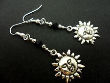 Sun Black Crystal Bead Earrings. New. A Pair Of Tibetan Silver Dangly