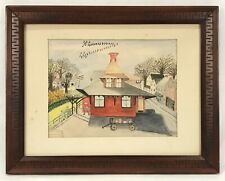 1976 Watercolor Railway Express Agency Railroad Train Station Original Frame