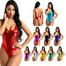 Sexy Women's One-piece Shiny Metallic Bodysuit Backless Leotard Thong Club Wear
