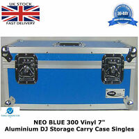"7"" Vinyl Record Aluminium DJ Flight Carry Case Blue Storage Box Holds 300 Tough"