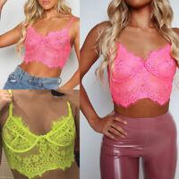 New Women Lingerie Lace Flowers Bralette Bralet Bra Tank Cami Crop Top Vest Cami
