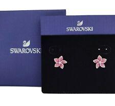 Swarovski Crystal Tropical Flower Pierced Earrings Pink Rhodium Plated 5519254