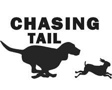 Car Truck Black Window Sticker Decal Hunt Beagle Hound Dog 6X11 Chasing Tail