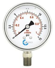 "2-1/2"" Pressure Gauge, Stainless Steel Case, Liquid Filled, Lower Mnt 15  PSI"
