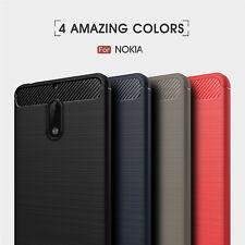 Carbon Fiber Bumper Phone Back Cover Soft Silicone Rubber Case For Nokia 3 5 6 8